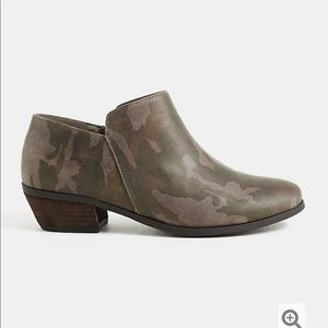 Torrid Camo Faux Suede Ankle Booties